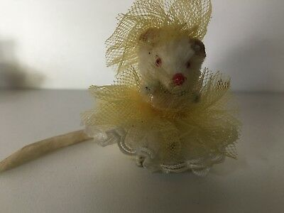 Original Fur Toys - vintage mouse in party dress -made in West Germany