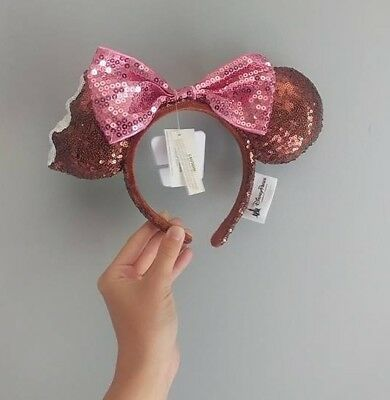 Disney Parks Sequin Minnie Mickey Ice Cream Bar Ears Headband with Pink Bow NEW