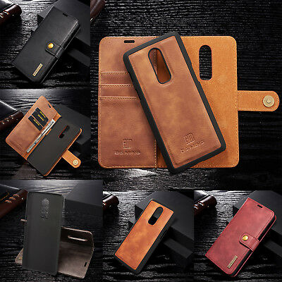 For OnePlus 6 Removable Magnetic Leather Case Card Wallet Stand Protective Cover
