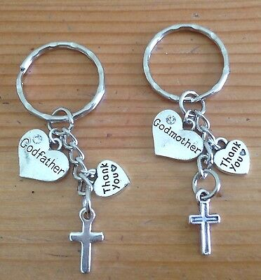 Christening gift cross godparent thank you keepsake keyring with free gift bag