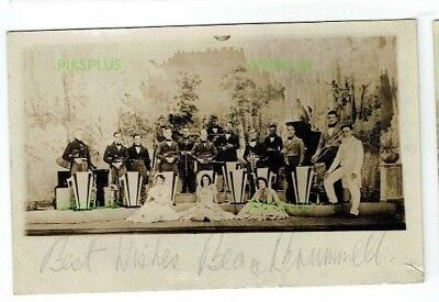 Signed Postcard Beau Brummell Dance / Jazz Band Sax Etc Real Photo Vintage 1930S
