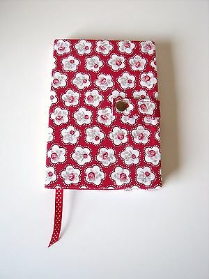Reusable A5 Diary / Book Cover in Red & White floral Cotton - handmade