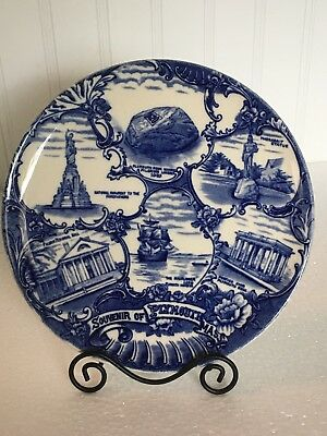 Plymouth, Mass. blue collector plate - Old English Staffordshire