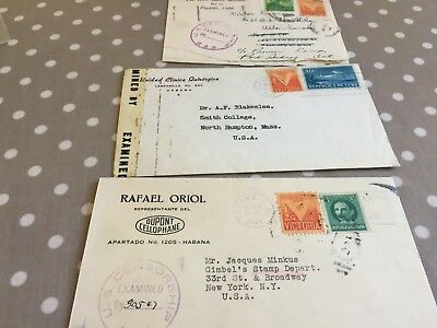 Caribbean 3 letters all to USA and opened by censor