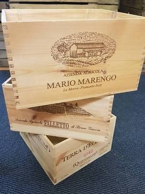 3 x ITALIAN WOODEN WINE CRATES BOXES - VINTAGE SHABBY CHIC DRAWERS STORAGE >