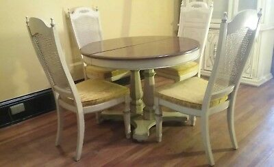 Vtg STANLEY French Provincial Dining Room Set Table 4 Chairs 2 Leafs & Cabinet