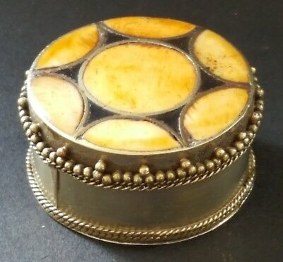 Silver plate & polished agate stone vintage Victorian antique small box