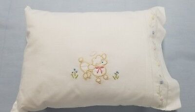 Heirloom, Embroidered white cotton baby Pillow Case cover cushion. New