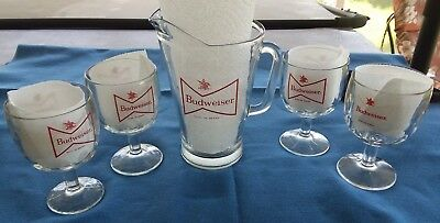 """Budweiser Heavy Clear Glass 9"""" Pitcher & 4 Old Style Mugs Goblets"""