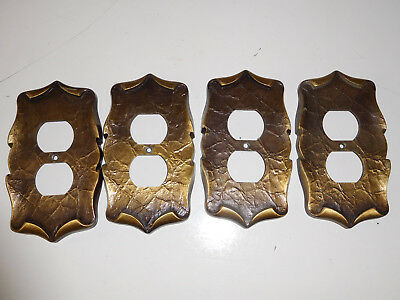 Vtg Lot of 4 Amerock Carriage House Dark Brass Single Outlet Cover Wall Plates