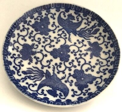 "Japanese antique 5 1/2"" Blue and White Phoenix Bird and Flowers plate It/225"