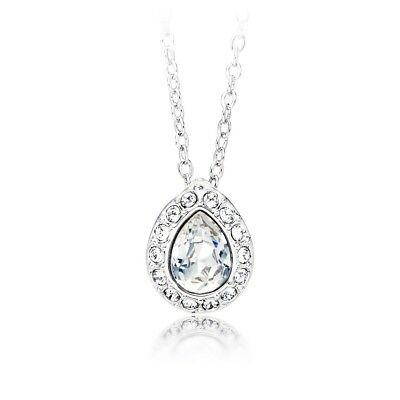 a6abccc82 Christie Pear Pendant with clear Swarovski Crystals WGP Round Bridal Gift
