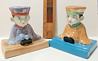 Pair 1920S Ceramic Lustre Ware Japanese Sweet Little Boys Figural Inkwells Exc!!