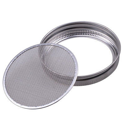 Stainless Steel Strainer Sprouting Lid for Mason Canning Jar Wide Mouth Silver