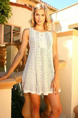 New Womens Lace Detail Tank Dress Cream Xs S M L 2475