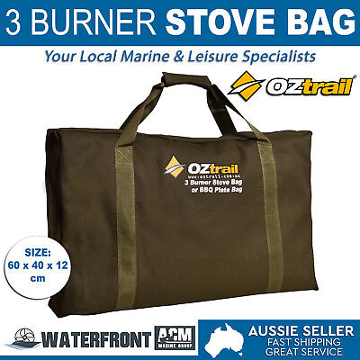 OZtrail 3 Burner Stove Carry Bag Brown Canvas Outdoor Camping Bbq Plate Storage