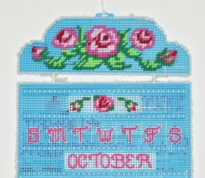 Perpetual Calendar Plastic Canvas Hand Made Sewn VTG Craft Wall Yarn Completed