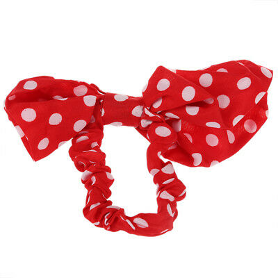 Lovely Lady Bow Headband Ponytail Holder Hair Tie Band (Red + white spots) W3B9