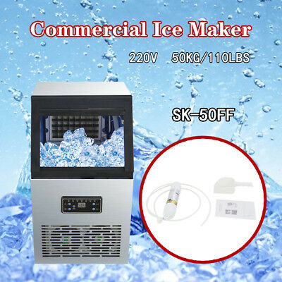 50kg Auto Commercial Ice Maker Ice Cube Machine 110Lbs 230W 220V Restaurant Bar