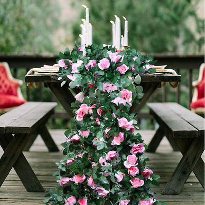 2.3m Wedding Flower Garland  Silk Rose Vine Wedding Table Decoration Centerpiece