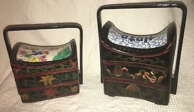 Antique Vintage Chinese porcelain wedding box Rice Box Lunch Box Set Of 2