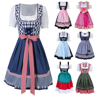 Ladies Cheers Traditional German Oktoberfest Dirndl Fancy Dress Servant Costume