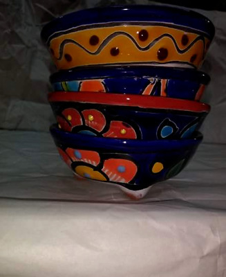 4 Small Salsa Talavera bowls handcrafted in Mexico multi color floral