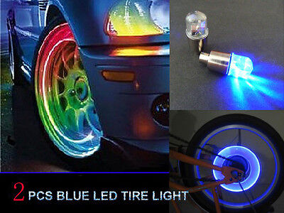 2pcs Blue LED Tyre Tire Valve Caps Neon Light Bike for Car motorcycle