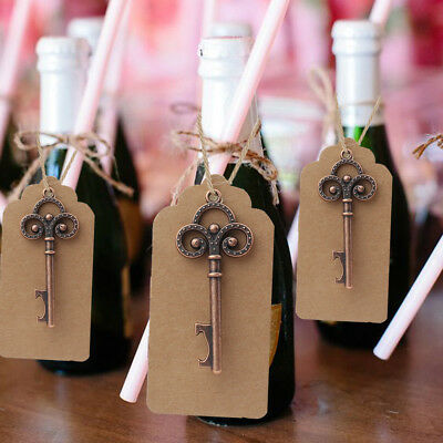 50×Vintage Skeleton Key Bottle Opener Wedding Favor Cards Bridal Shower Decor