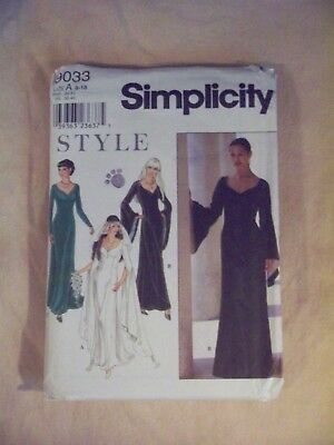 Sewing Patterns Simplicity 9033 Size 8 18 Wedding Or Costume
