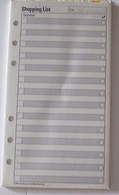 Dayrunner Shopping List Planner Refill Pages 4 or 6 Ring 3 3/4in x 6 3/4in