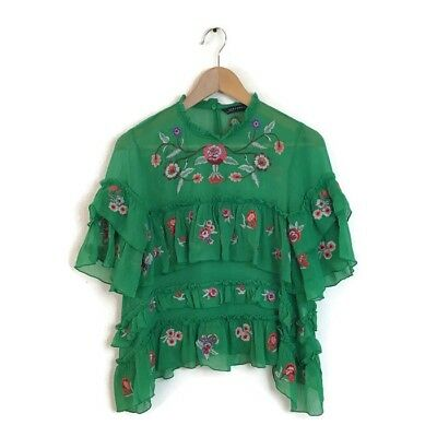 b4896ede66db Zara Woman Blouse Top S Green Embroidered Ruffle Tiered Floral Print Women  Boho