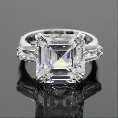 Certified 3.57ct White Asscher Diamond Engagement Ring in Solid 14K White Gold