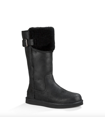 fdf336c7323 UGG AUSTRALIA WILOWE Water Resistant Leather Cuff Boot Black Buckle US  Womens 7