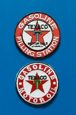 2 LOT TEXACO GASOLINE OIL Embrodered Iron Or Sewn On UNIFORM  Patches Free Ship