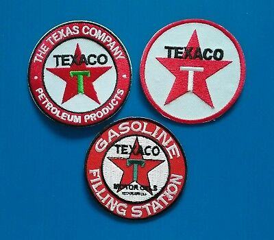 3 LOT TEXACO GASOLINE OIL Embrodered Iron Or Sewn On UNIFORM  Patches Free Ship