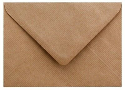 C6 A6 Brown Ribbed Kraft Envelopes 100gsm For Greeting Cards , 114mm x 162mm