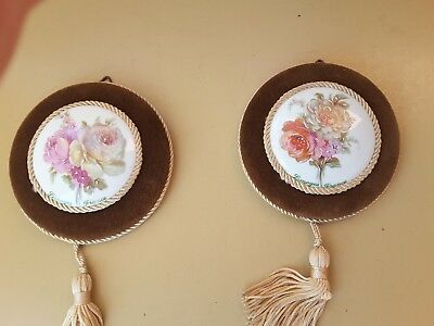 Antique TWO LIMOGES FRANCE WALL HANGERS HAND PAINTED ROSES