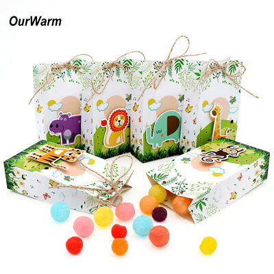 12× Animal Theme Paper Candy Box Gift Bag Kid Jungle Party Treat Gift Holder Bag