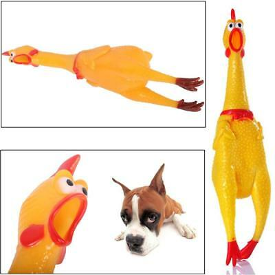 17CM Yellow Screaming Rubber Chicken Pets Dogs Toy Squeak Squeaker Chew Gift HS