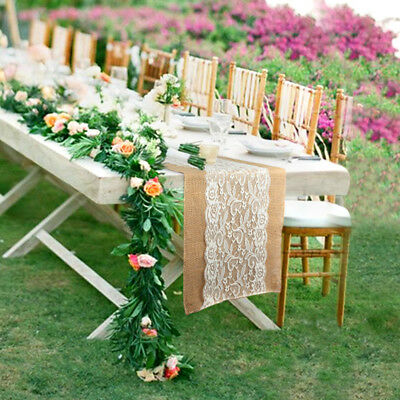 Natural Burlap Lace Hessian Table Runner Wedding Banquet Party Home Table Decor