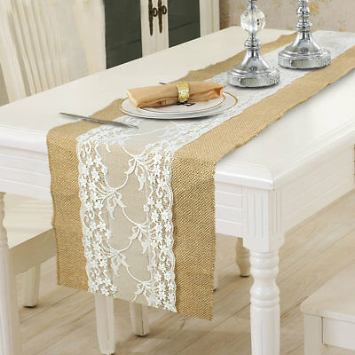 Burlap Hessian Center Lace Wedding Table Runner Rustic Country Tablecloth Cover