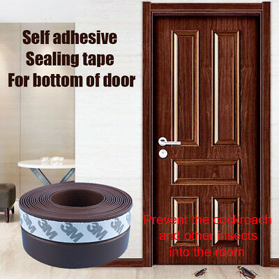 Self Adhesive Silicone Door Seal Draught Excluders Sweep Weatherstripping Brown