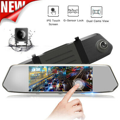 "TOGUARD 1080P Dual Lens Mirror DashCam 7"" IPS Touch Screen Rear View Car Camera"