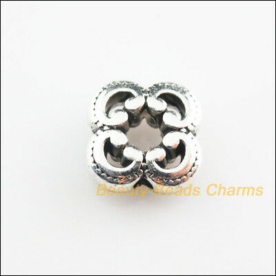 8Pcs Tibetan Silver Tone Flower Square Spacer Beads Charms 10mm
