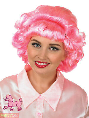 Ladies Frenchy Wig Adults 1950s Frenchie Pink Fancy Dress Costume Accessory