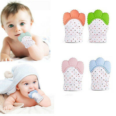 Baby Silicone Mitts Teething Mitten Glove Candy Color Wrapper Sound Teether Toys