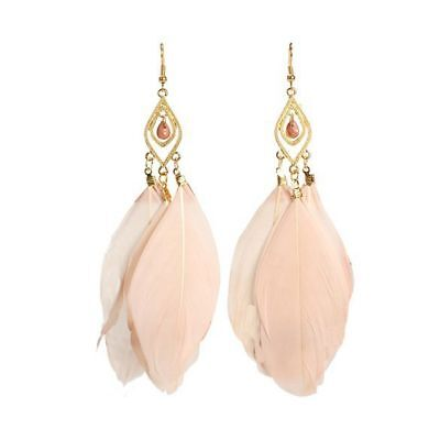 1 pair  Ladies Charming 3-Pieces Feathers Drop Pendant Earrings Apricot Y8D8