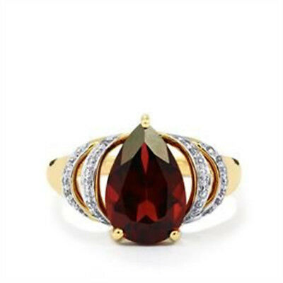 Fashion 18K Yellow Gold Filled Red Ruby Ring Wedding Bridal Women Jewelry Gifts
