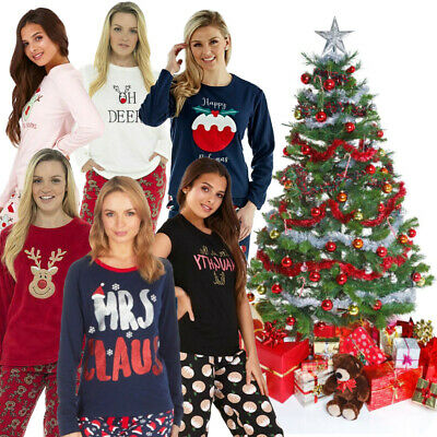 Christmas Ladies Girls Novelty Cotton Or Fleece Winter Pyjamas Pyjama Set